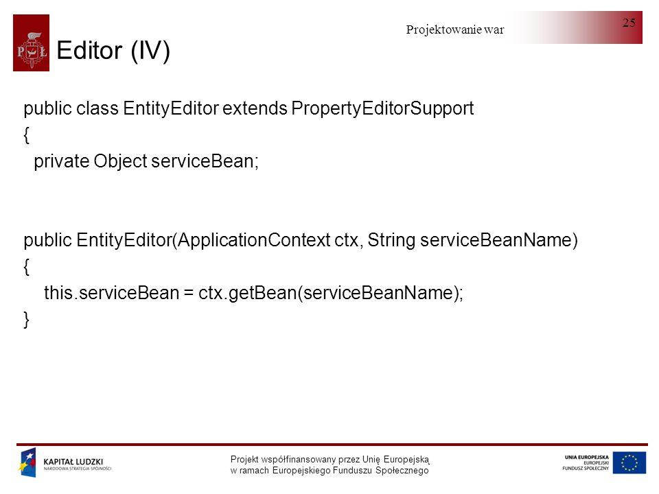 Projektowanie warstwy serwera Projekt współfinansowany przez Unię Europejską w ramach Europejskiego Funduszu Społecznego 25 Editor (IV) public class E