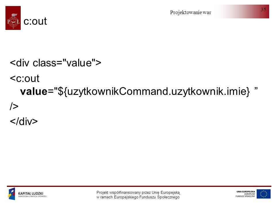 Projektowanie warstwy serwera Projekt współfinansowany przez Unię Europejską w ramach Europejskiego Funduszu Społecznego 35 c:out <c:out value=