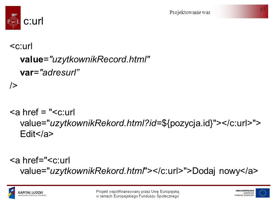 Projektowanie warstwy serwera Projekt współfinansowany przez Unię Europejską w ramach Europejskiego Funduszu Społecznego 37 c:url <c:url value=