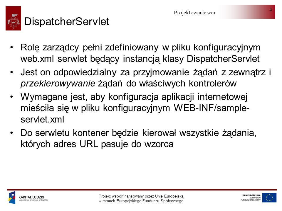 Projektowanie warstwy serwera Projekt współfinansowany przez Unię Europejską w ramach Europejskiego Funduszu Społecznego 5 InternalResourceViewResolver (I) InternalResourceViewResolver zajmuje się odwzorowaniem nazw logicznych na fizyczne adresy zasobów.