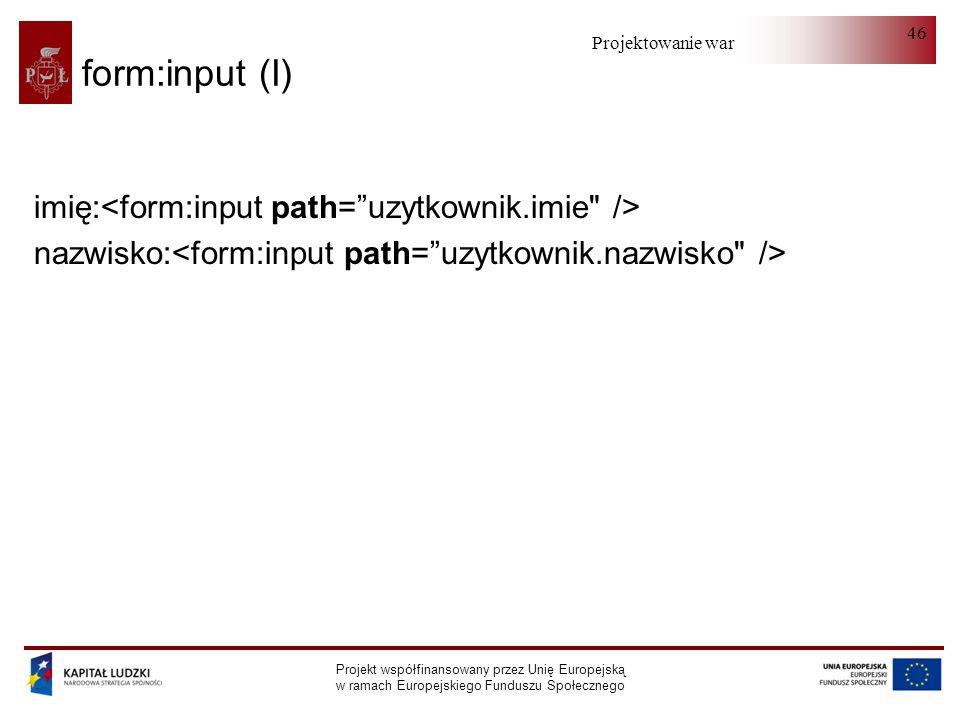 Projektowanie warstwy serwera Projekt współfinansowany przez Unię Europejską w ramach Europejskiego Funduszu Społecznego 46 form:input (I) imię: nazwi