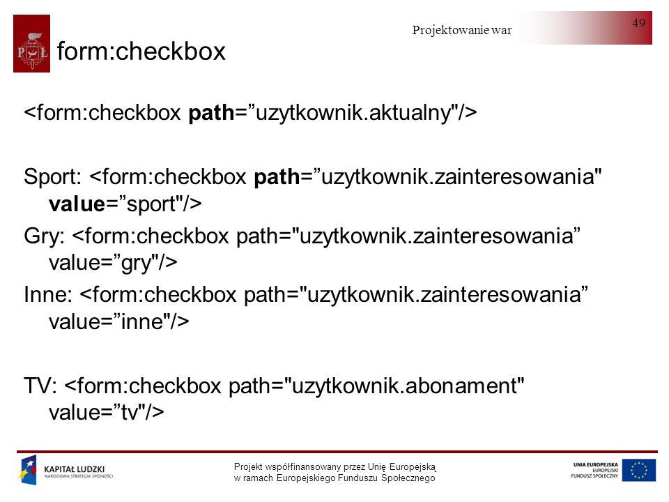 Projektowanie warstwy serwera Projekt współfinansowany przez Unię Europejską w ramach Europejskiego Funduszu Społecznego 49 form:checkbox Sport: Gry: