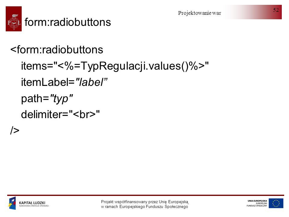 Projektowanie warstwy serwera Projekt współfinansowany przez Unię Europejską w ramach Europejskiego Funduszu Społecznego 52 form:radiobuttons <form:ra