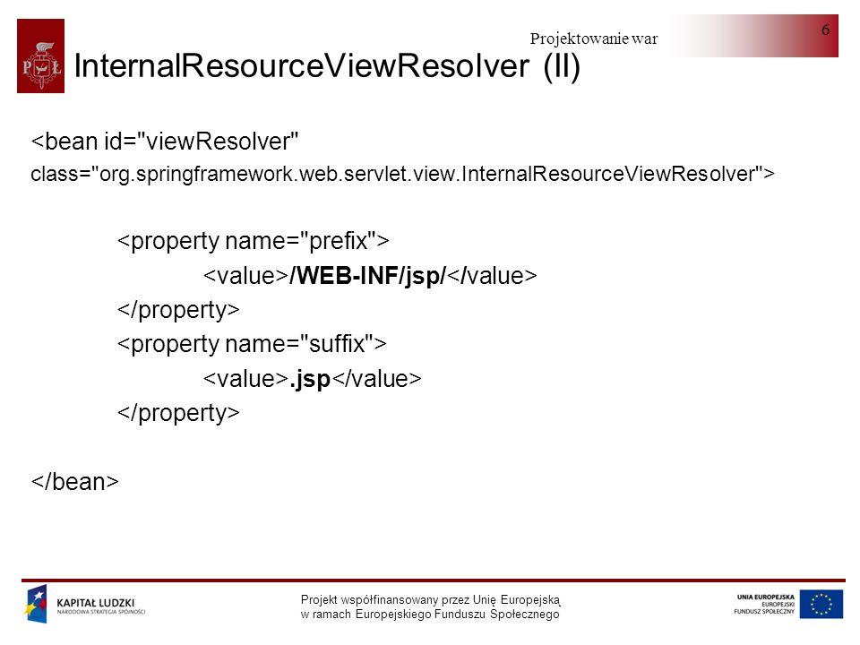 Projektowanie warstwy serwera Projekt współfinansowany przez Unię Europejską w ramach Europejskiego Funduszu Społecznego 87 Spring 2.5 - kontroler (onSubmit) protected ModelAndView onSubmit(HttpServletRequest request, HttpServletResponse response, Object command, org.springframework.validation.BindException errors) throws Exception { RedirectView rv; Uzytkownik uzytkownik = (Uzytkownik) command; uzytkownikService.persist(uzytkownik); rv = new RedirectView( editUzytkownik.htm?id= +uzytkownik.getId() ); rv.setContextRelative(true); return new ModelAndView(rv); }
