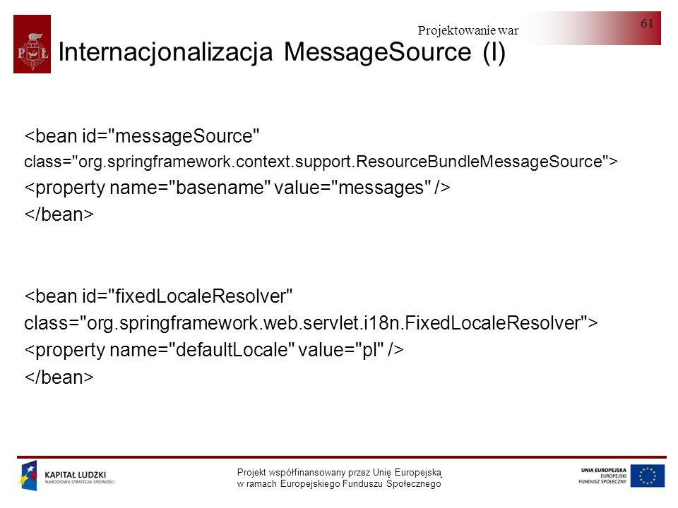 Projektowanie warstwy serwera Projekt współfinansowany przez Unię Europejską w ramach Europejskiego Funduszu Społecznego 61 Internacjonalizacja Messag