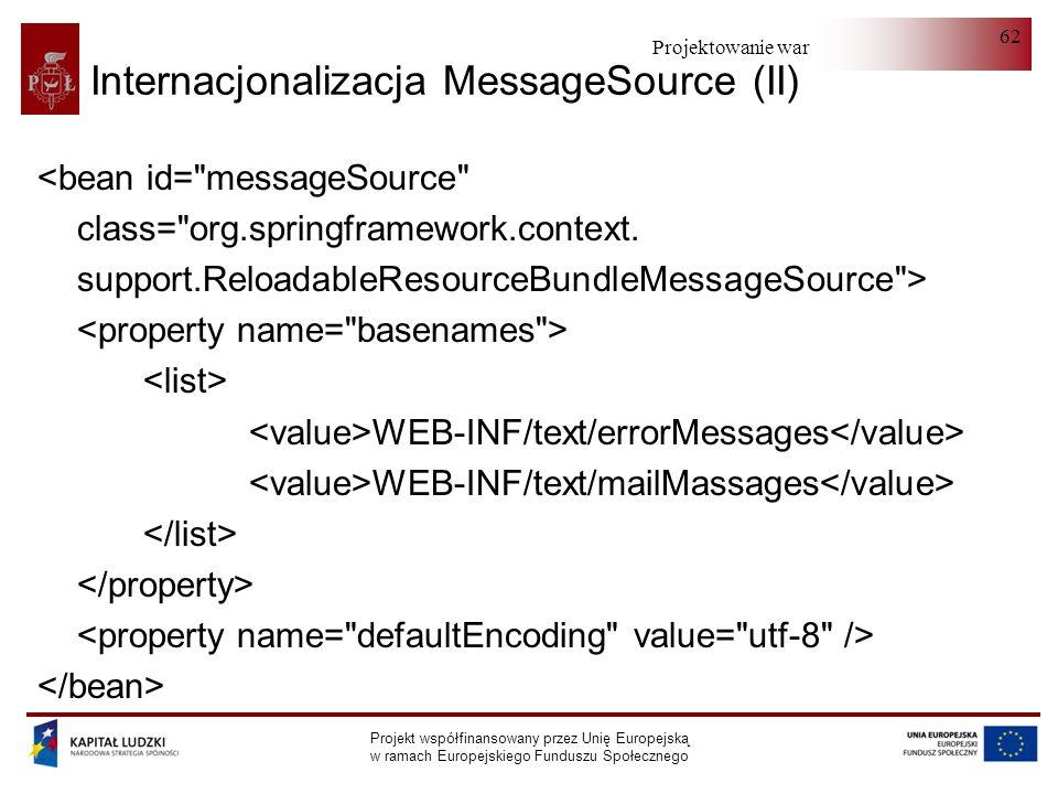 Projektowanie warstwy serwera Projekt współfinansowany przez Unię Europejską w ramach Europejskiego Funduszu Społecznego 62 Internacjonalizacja Messag