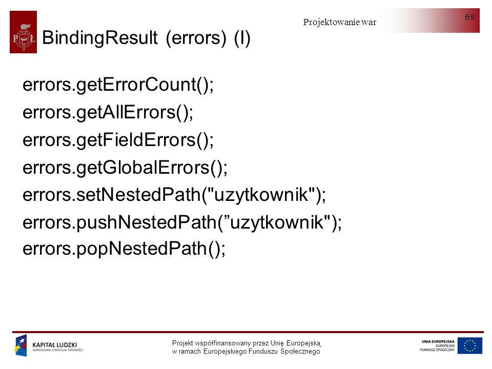 Projektowanie warstwy serwera Projekt współfinansowany przez Unię Europejską w ramach Europejskiego Funduszu Społecznego 69 BindingResult (errors) (I)