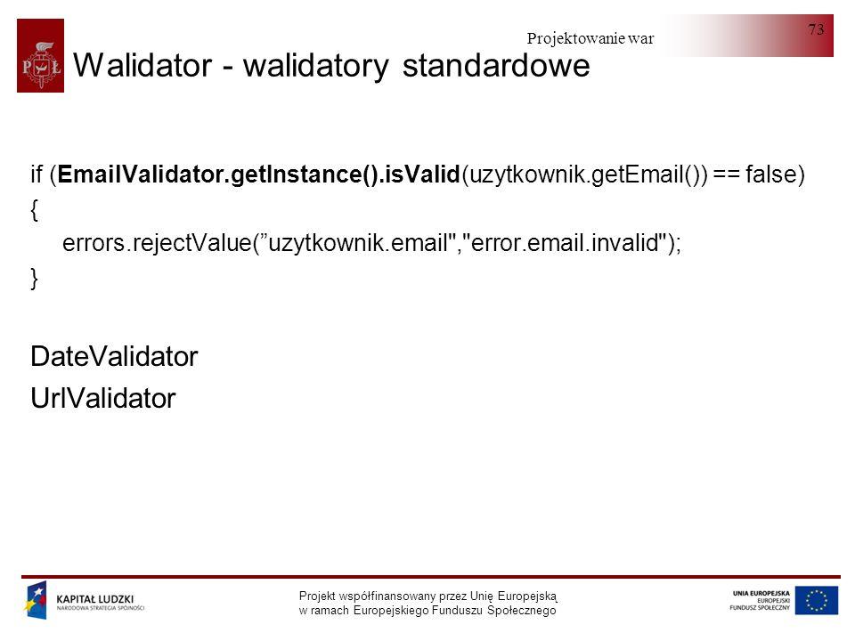 Projektowanie warstwy serwera Projekt współfinansowany przez Unię Europejską w ramach Europejskiego Funduszu Społecznego 73 Walidator - walidatory sta