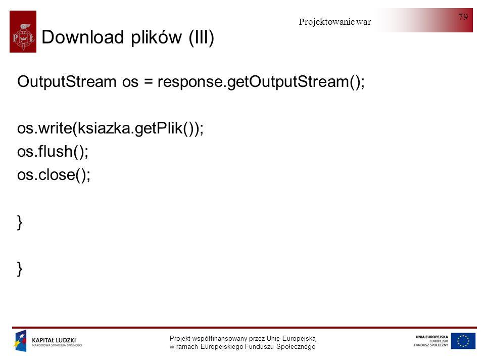 Projektowanie warstwy serwera Projekt współfinansowany przez Unię Europejską w ramach Europejskiego Funduszu Społecznego 79 Download plików (III) Outp