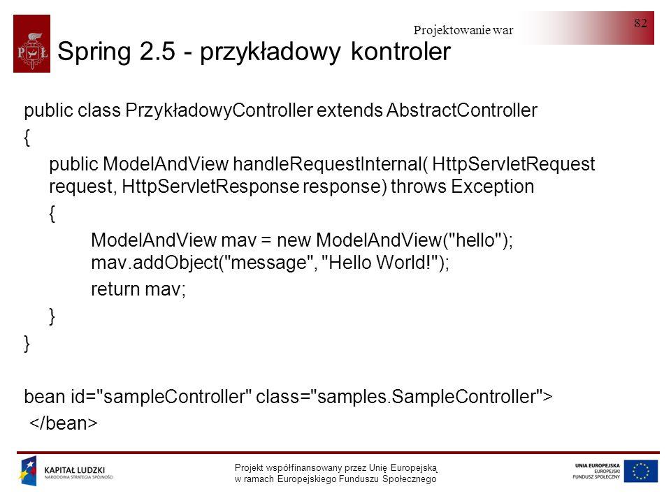Projektowanie warstwy serwera Projekt współfinansowany przez Unię Europejską w ramach Europejskiego Funduszu Społecznego 82 Spring 2.5 - przykładowy k