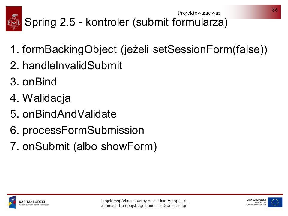 Projektowanie warstwy serwera Projekt współfinansowany przez Unię Europejską w ramach Europejskiego Funduszu Społecznego 86 Spring 2.5 - kontroler (su