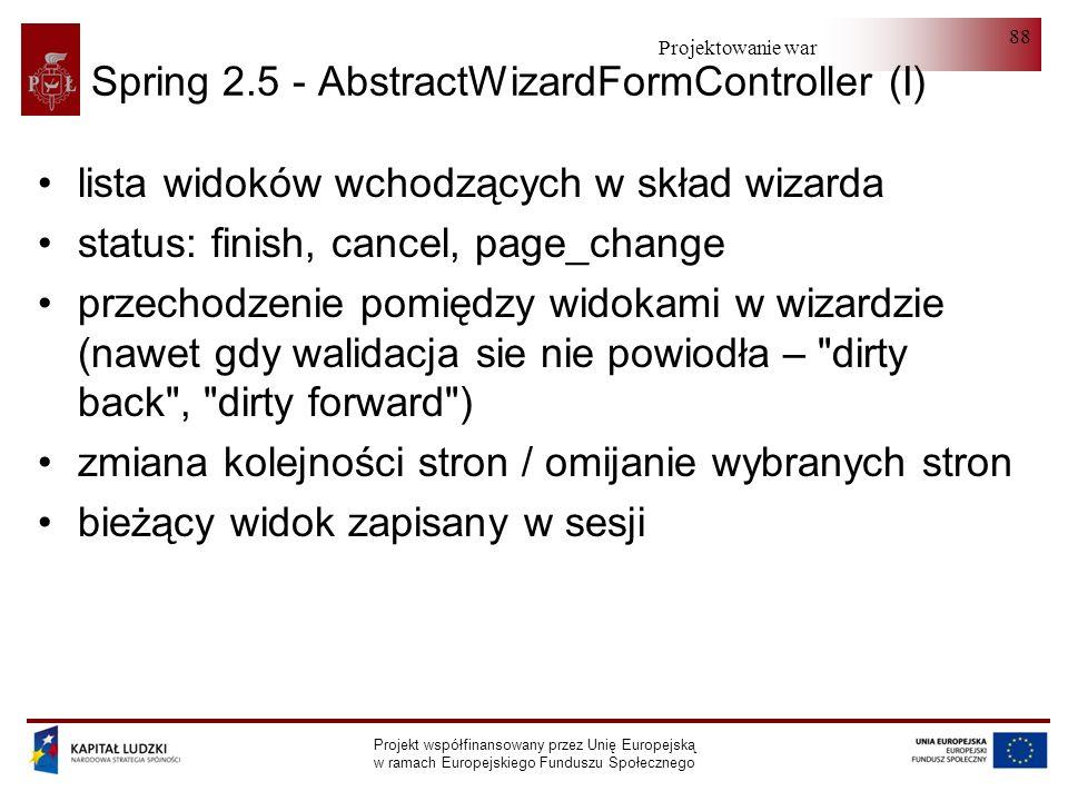 Projektowanie warstwy serwera Projekt współfinansowany przez Unię Europejską w ramach Europejskiego Funduszu Społecznego 88 Spring 2.5 - AbstractWizar