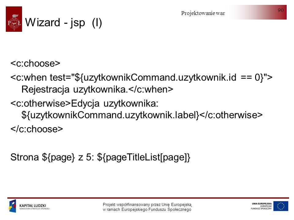 Projektowanie warstwy serwera Projekt współfinansowany przez Unię Europejską w ramach Europejskiego Funduszu Społecznego 90 Wizard - jsp (I) Rejestrac