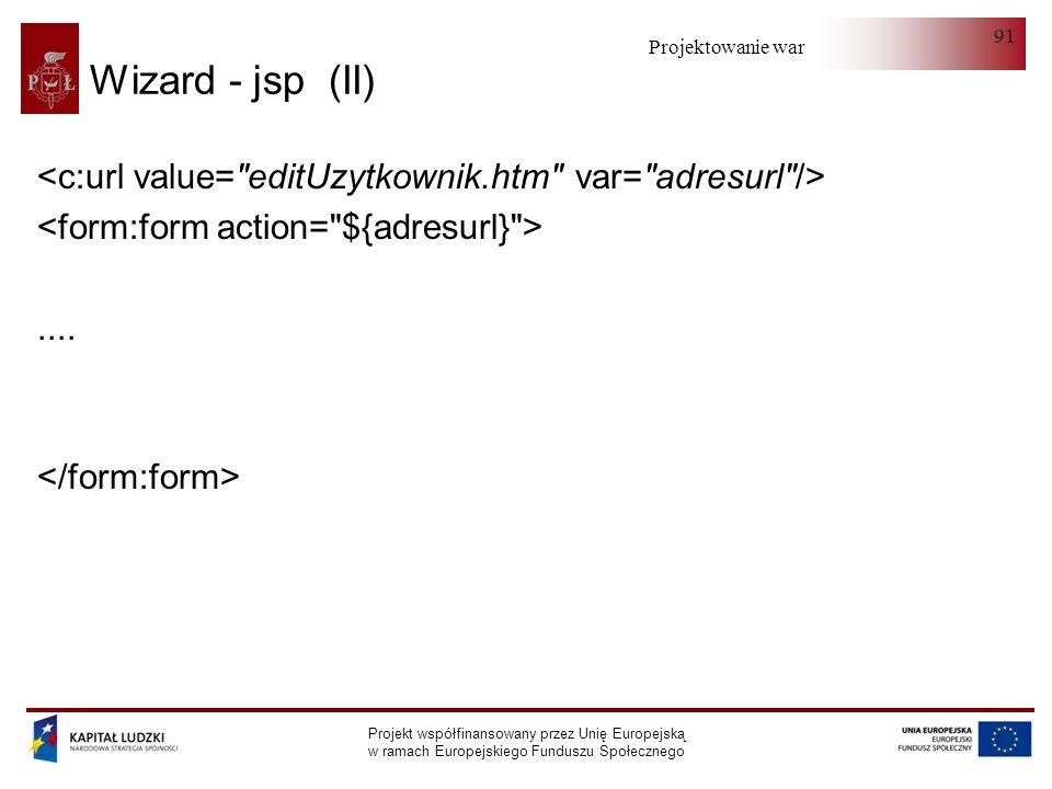 Projektowanie warstwy serwera Projekt współfinansowany przez Unię Europejską w ramach Europejskiego Funduszu Społecznego 91 Wizard - jsp (II)....
