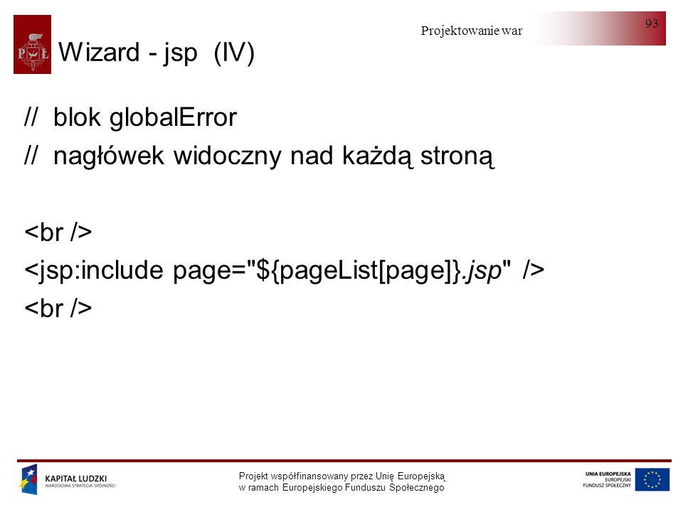 Projektowanie warstwy serwera Projekt współfinansowany przez Unię Europejską w ramach Europejskiego Funduszu Społecznego 93 Wizard - jsp (IV) // blok