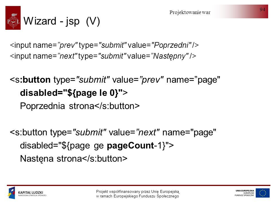 Projektowanie warstwy serwera Projekt współfinansowany przez Unię Europejską w ramach Europejskiego Funduszu Społecznego 94 Wizard - jsp (V) <s:button
