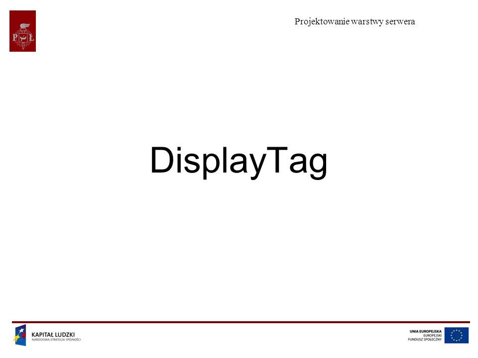 Projektowanie warstwy serwera Projekt współfinansowany przez Unię Europejską w ramach Europejskiego Funduszu Społecznego 2 Plan wykładu Prezentacja tablicy na stronie jsp Konfiguracja biblioteki displayTag Dekoratory Współpraca z hibernate