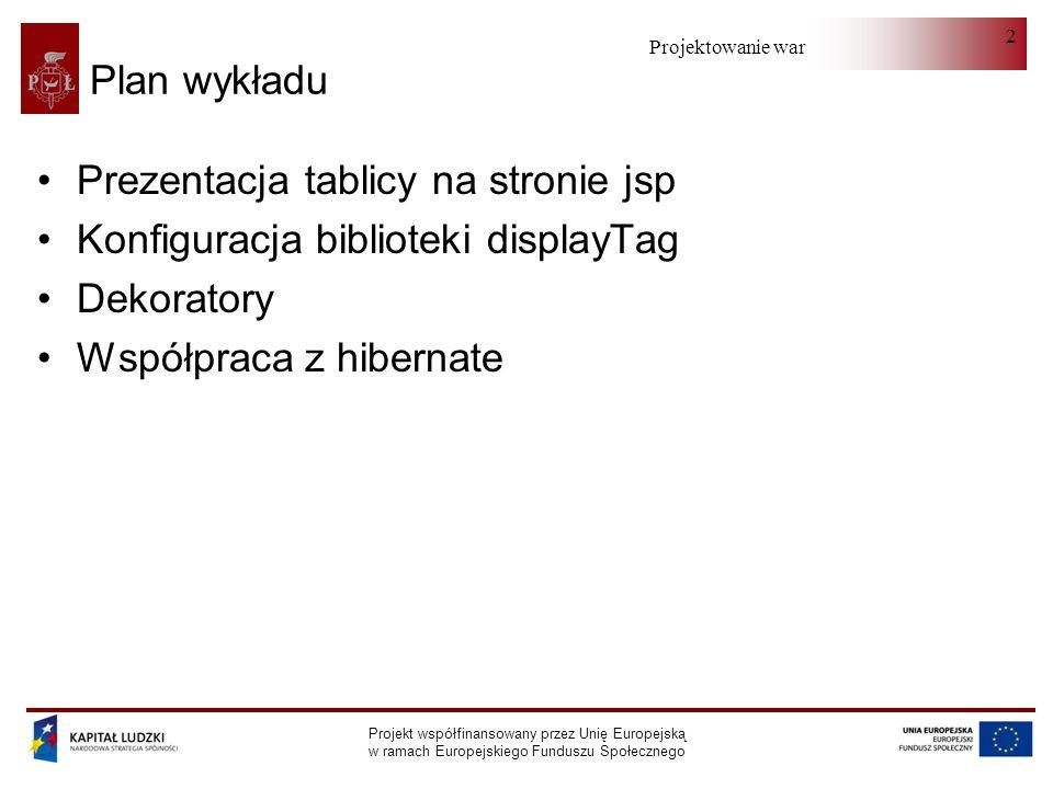 Projektowanie warstwy serwera Projekt współfinansowany przez Unię Europejską w ramach Europejskiego Funduszu Społecznego 23 Współpraca z hibernate - PartialList public class PartialList implements PaginatedList private Preselection preselection; private ArrayList list; int getFullListSize(); int getObjectsPerPage(); int getPageNumber(); String getSearchId(); String getSortCriterion(); SortOrderEnum getSortDirection();