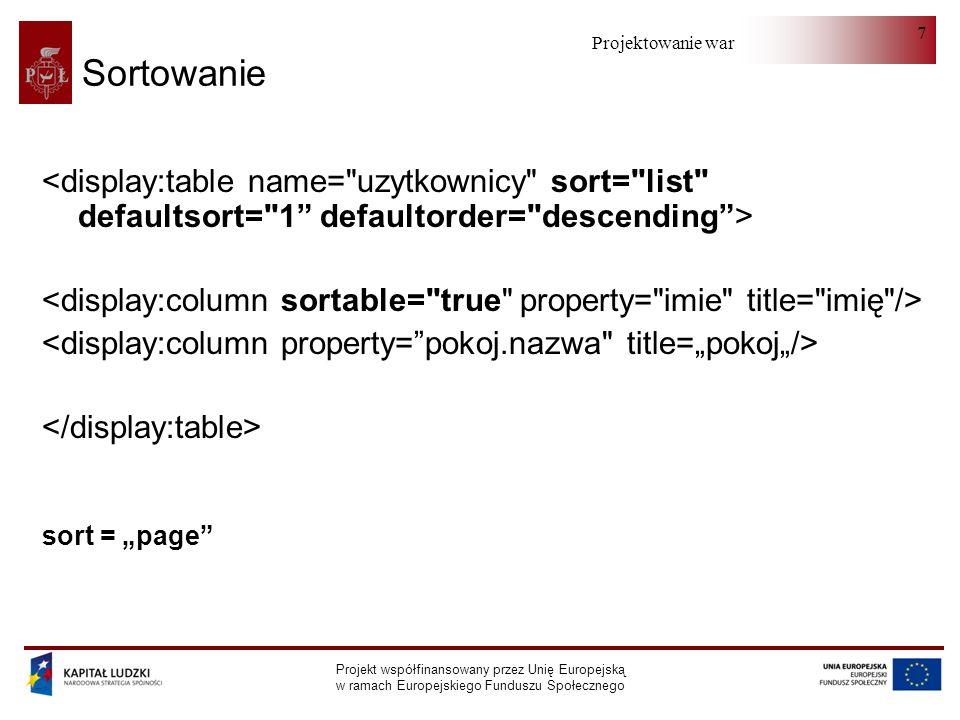 Projektowanie warstwy serwera Projekt współfinansowany przez Unię Europejską w ramach Europejskiego Funduszu Społecznego 7 Sortowanie sort = page