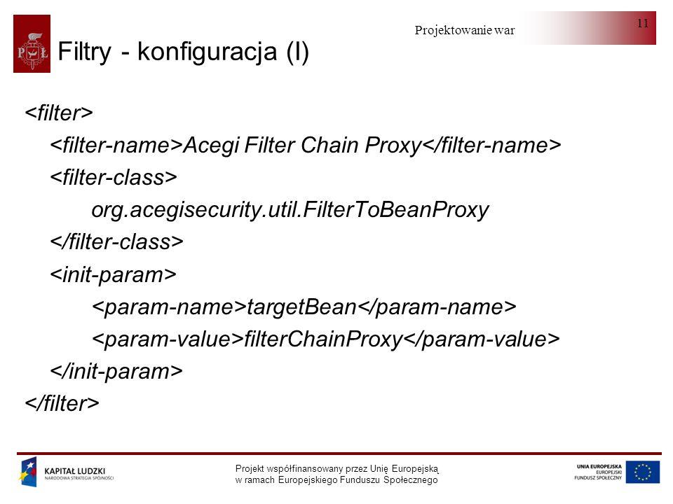 Projektowanie warstwy serwera Projekt współfinansowany przez Unię Europejską w ramach Europejskiego Funduszu Społecznego 11 Filtry - konfiguracja (I) Acegi Filter Chain Proxy org.acegisecurity.util.FilterToBeanProxy targetBean filterChainProxy