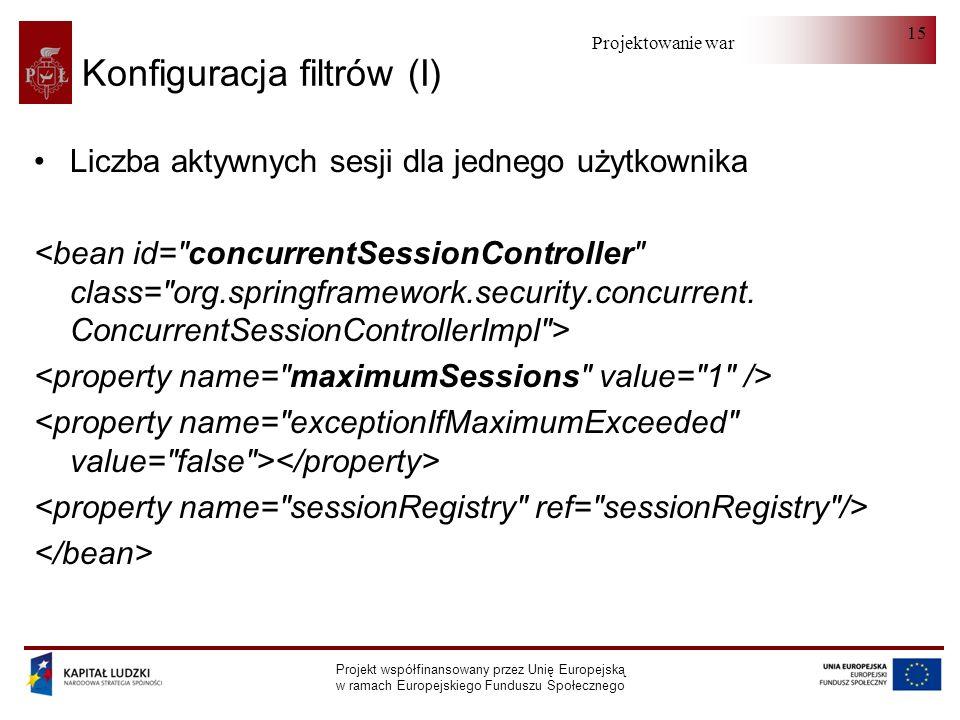 Projektowanie warstwy serwera Projekt współfinansowany przez Unię Europejską w ramach Europejskiego Funduszu Społecznego 15 Konfiguracja filtrów (I) Liczba aktywnych sesji dla jednego użytkownika