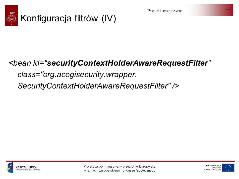 Projektowanie warstwy serwera Projekt współfinansowany przez Unię Europejską w ramach Europejskiego Funduszu Społecznego 18 Konfiguracja filtrów (IV) <bean id= securityContextHolderAwareRequestFilter class= org.acegisecurity.wrapper.