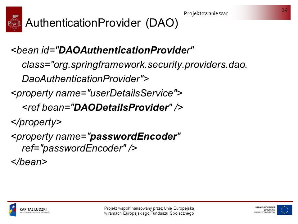 Projektowanie warstwy serwera Projekt współfinansowany przez Unię Europejską w ramach Europejskiego Funduszu Społecznego 29 AuthenticationProvider (DAO) <bean id= DAOAuthenticationProvider class= org.springframework.security.providers.dao.