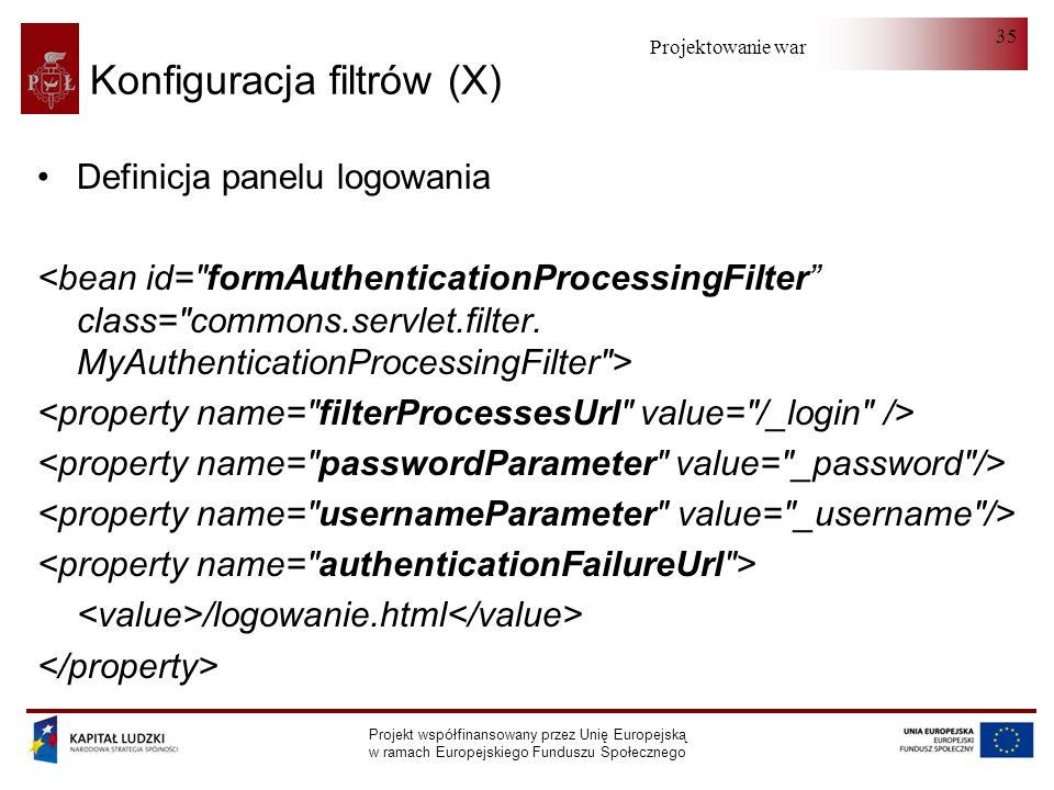 Projektowanie warstwy serwera Projekt współfinansowany przez Unię Europejską w ramach Europejskiego Funduszu Społecznego 35 Konfiguracja filtrów (X) Definicja panelu logowania /logowanie.html
