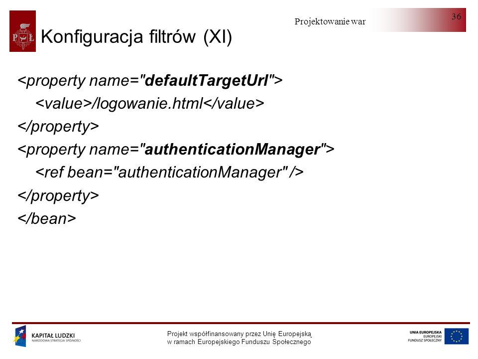 Projektowanie warstwy serwera Projekt współfinansowany przez Unię Europejską w ramach Europejskiego Funduszu Społecznego 36 Konfiguracja filtrów (XI) /logowanie.html