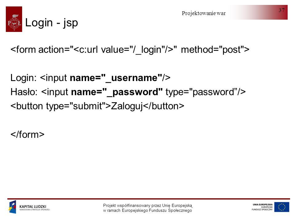 Projektowanie warstwy serwera Projekt współfinansowany przez Unię Europejską w ramach Europejskiego Funduszu Społecznego 37 Login - jsp method= post > Login: Hasło: Zaloguj
