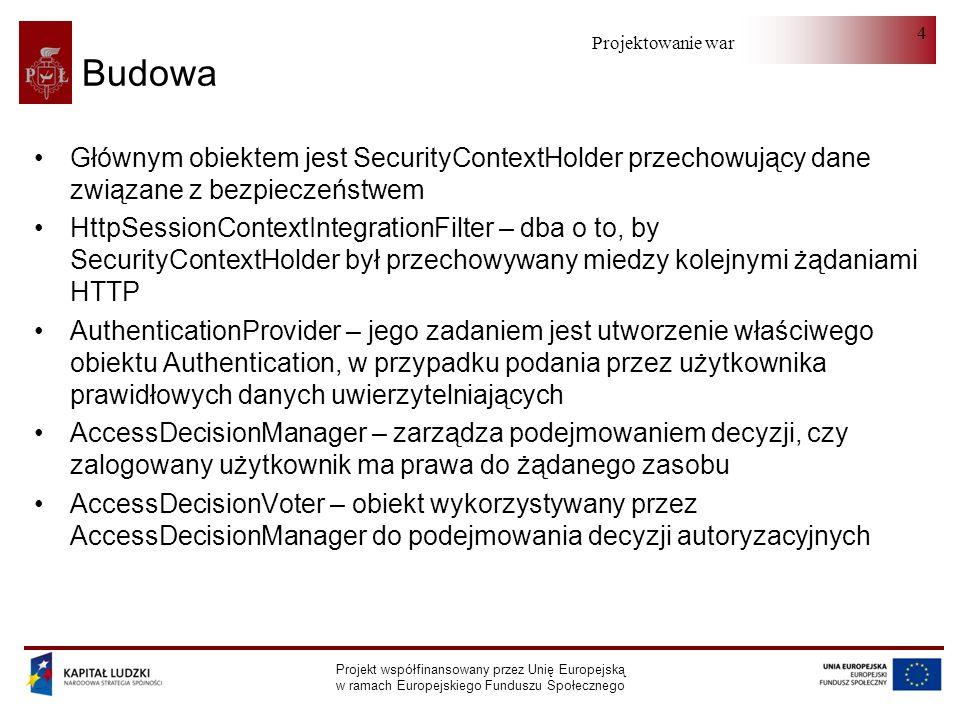 Projektowanie warstwy serwera Projekt współfinansowany przez Unię Europejską w ramach Europejskiego Funduszu Społecznego 4 Budowa Głównym obiektem jest SecurityContextHolder przechowujący dane związane z bezpieczeństwem HttpSessionContextIntegrationFilter – dba o to, by SecurityContextHolder był przechowywany miedzy kolejnymi żądaniami HTTP AuthenticationProvider – jego zadaniem jest utworzenie właściwego obiektu Authentication, w przypadku podania przez użytkownika prawidłowych danych uwierzytelniających AccessDecisionManager – zarządza podejmowaniem decyzji, czy zalogowany użytkownik ma prawa do żądanego zasobu AccessDecisionVoter – obiekt wykorzystywany przez AccessDecisionManager do podejmowania decyzji autoryzacyjnych