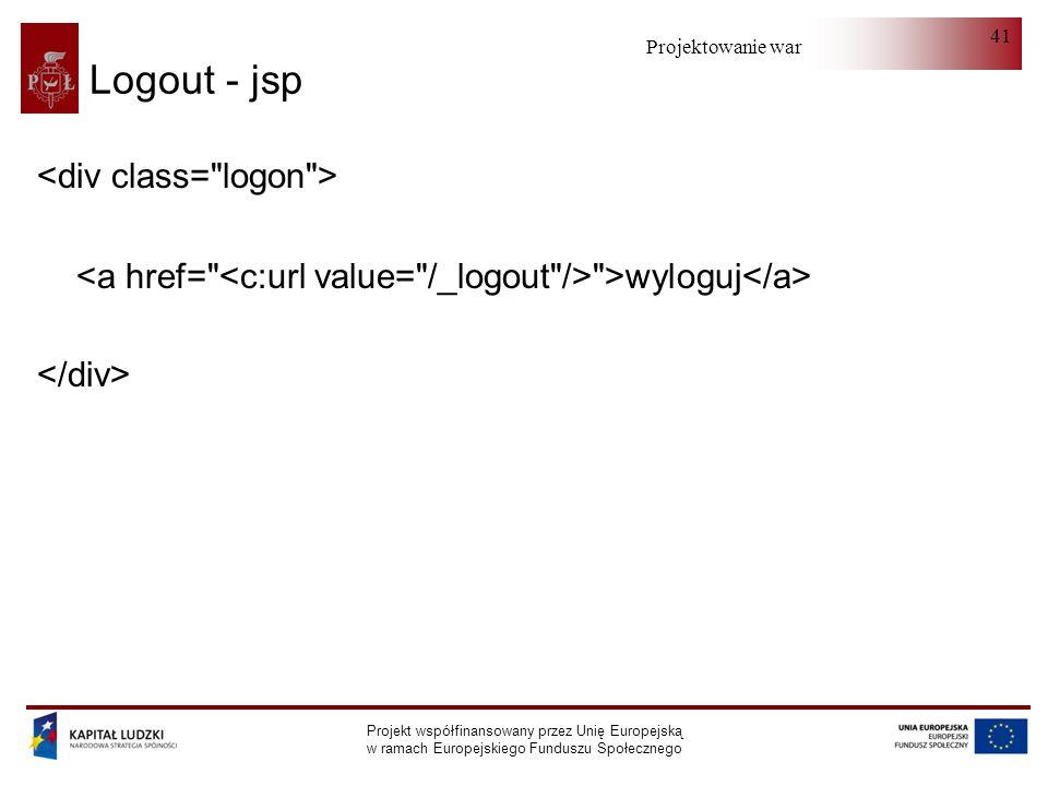 Projektowanie warstwy serwera Projekt współfinansowany przez Unię Europejską w ramach Europejskiego Funduszu Społecznego 41 Logout - jsp >wyloguj