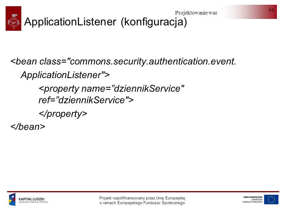 Projektowanie warstwy serwera Projekt współfinansowany przez Unię Europejską w ramach Europejskiego Funduszu Społecznego 44 ApplicationListener (konfiguracja) <bean class= commons.security.authentication.event.