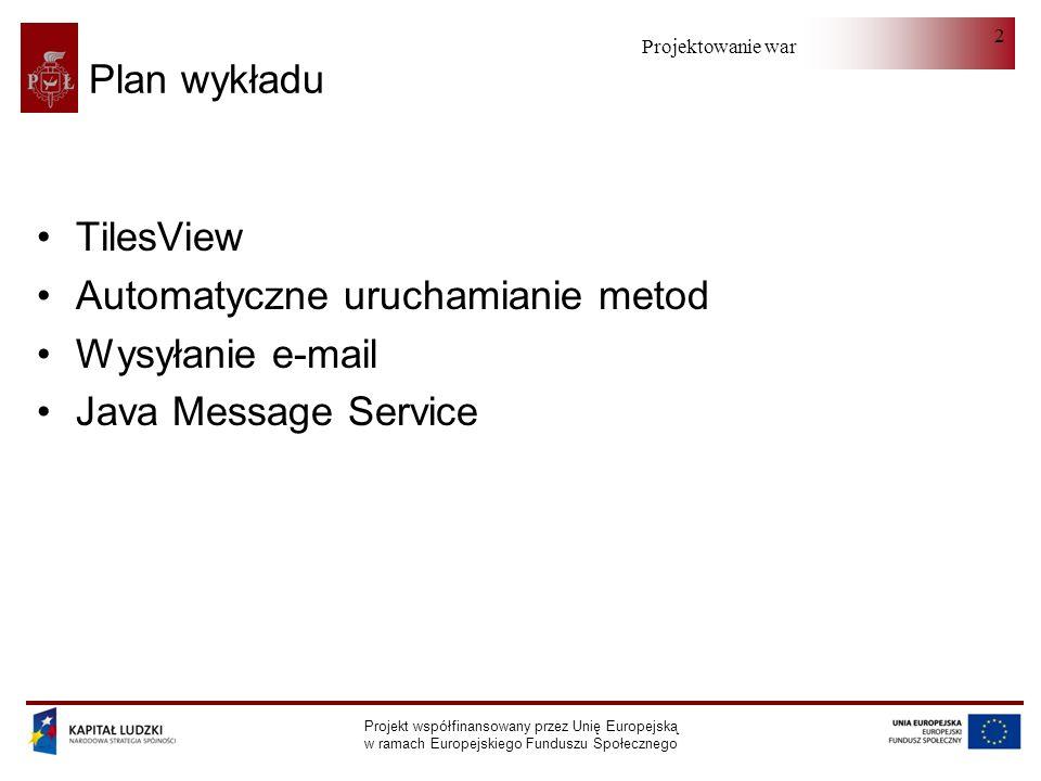Projektowanie warstwy serwera Projekt współfinansowany przez Unię Europejską w ramach Europejskiego Funduszu Społecznego 2 Plan wykładu TilesView Automatyczne uruchamianie metod Wysyłanie e-mail Java Message Service