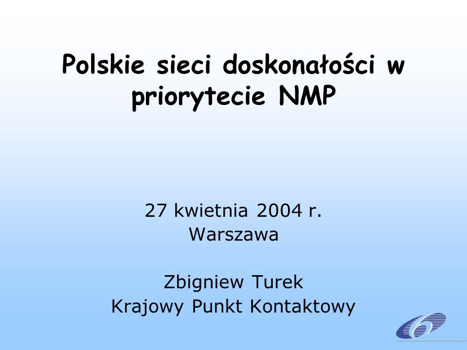Polskie sieci doskonałości w priorytecie NMP 27 kwietnia 2004 r. Warszawa Zbigniew Turek Krajowy Punkt Kontaktowy