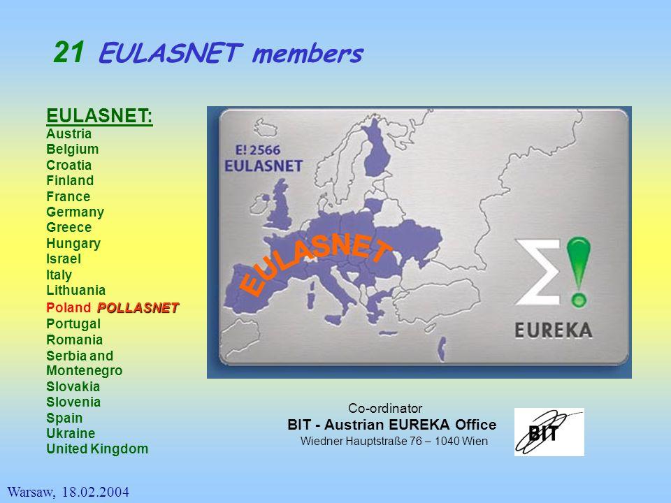 EULASNET members Warsaw, 18.02.2004 EULASNET: Austria Belgium Croatia Finland France Germany Greece Hungary Israel Italy Lithuania Poland Portugal Rom