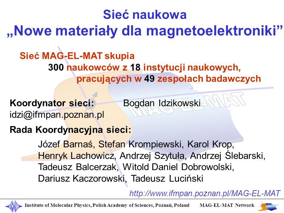 Sieć naukowa Nowe materiały dla magnetoelektroniki Institute of Molecular Physics, Polish Academy of Sciences, Poznań, Poland MAG-EL-MAT Network Sieć