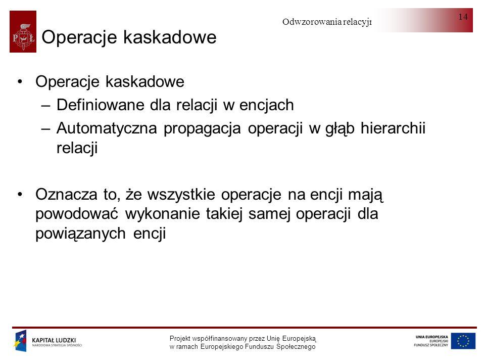 Odwzorowania relacyjno-obiektowe Projekt współfinansowany przez Unię Europejską w ramach Europejskiego Funduszu Społecznego 14 Operacje kaskadowe –Def
