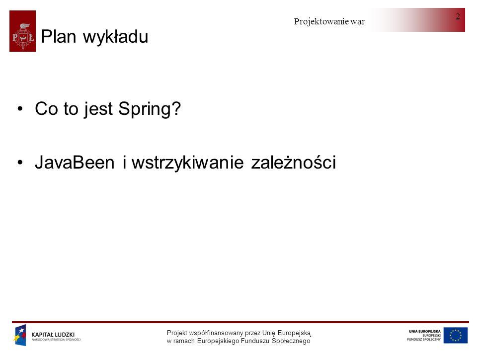 Projektowanie warstwy serwera Projekt współfinansowany przez Unię Europejską w ramach Europejskiego Funduszu Społecznego 23 Fabryki komponentów (I) Podstawowa funkcjonalność Spring jest udostępniana przez pakiet org.springframework.beans.