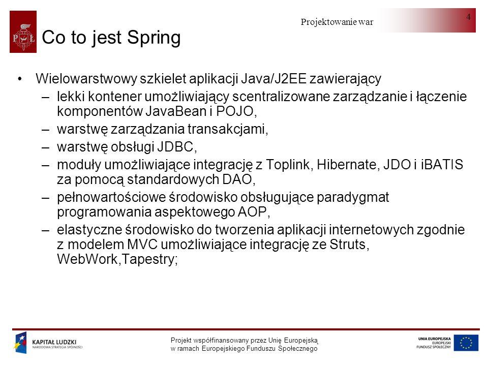 Projektowanie warstwy serwera Projekt współfinansowany przez Unię Europejską w ramach Europejskiego Funduszu Społecznego 15 Wstrzykiwanie zależności przez settery (II)