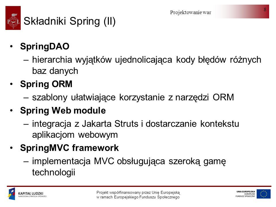 Projektowanie warstwy serwera Projekt współfinansowany przez Unię Europejską w ramach Europejskiego Funduszu Społecznego 19 Inicjalizacja Bean - przykład (I) class Pokoj { String nazwa; String lokalizacja;....