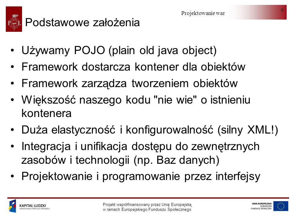 Projektowanie warstwy serwera Projekt współfinansowany przez Unię Europejską w ramach Europejskiego Funduszu Społecznego 30 Automatyczne wstrzykiwanie zależności @Autowired @Qualifier( uzytkownikDAO ) private UzytkownikDAO uzytkownikDAO ;