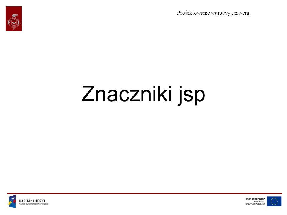 Projektowanie warstwy serwera Znaczniki jsp