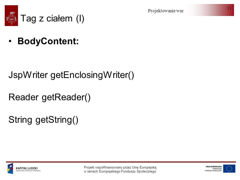 Projektowanie warstwy serwera Projekt współfinansowany przez Unię Europejską w ramach Europejskiego Funduszu Społecznego 11 Tag z ciałem (I) BodyContent: JspWriter getEnclosingWriter() Reader getReader() String getString()