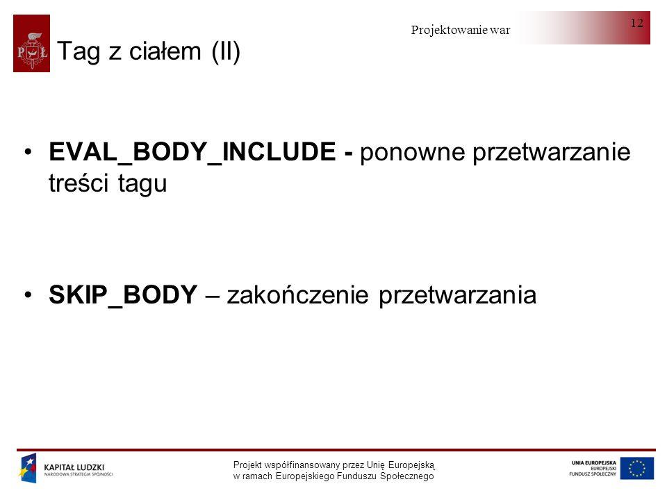 Projektowanie warstwy serwera Projekt współfinansowany przez Unię Europejską w ramach Europejskiego Funduszu Społecznego 12 Tag z ciałem (II) EVAL_BODY_INCLUDE - ponowne przetwarzanie treści tagu SKIP_BODY – zakończenie przetwarzania