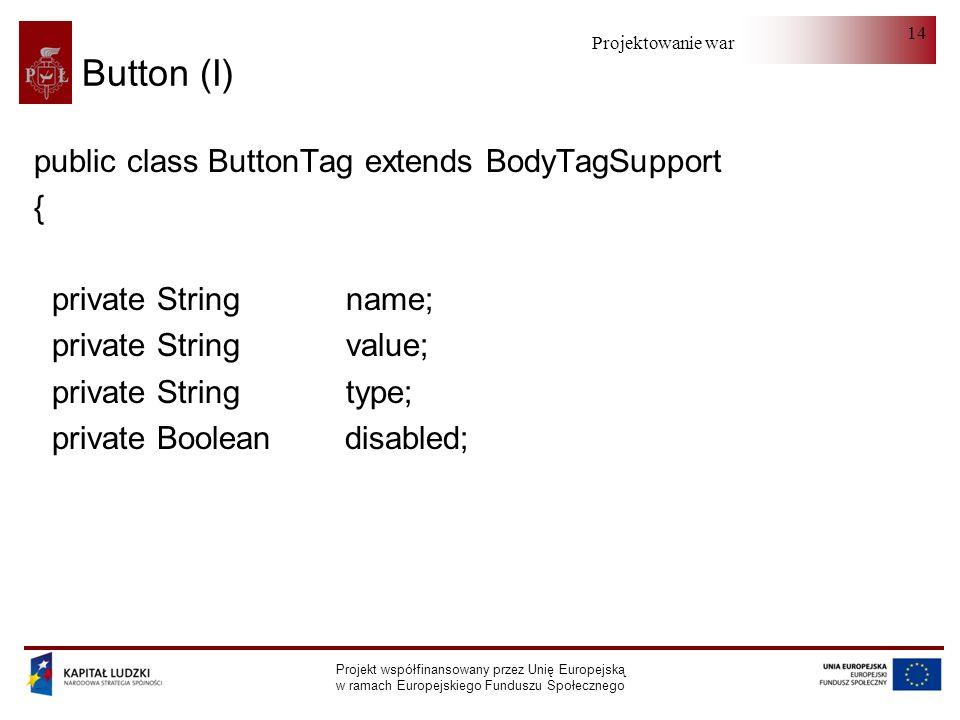Projektowanie warstwy serwera Projekt współfinansowany przez Unię Europejską w ramach Europejskiego Funduszu Społecznego 14 Button (I) public class ButtonTag extends BodyTagSupport { private String name; private String value; private String type; private Boolean disabled;