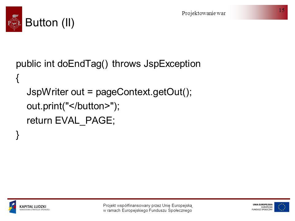 Projektowanie warstwy serwera Projekt współfinansowany przez Unię Europejską w ramach Europejskiego Funduszu Społecznego 15 Button (II) public int doEndTag() throws JspException { JspWriter out = pageContext.getOut(); out.print( ); return EVAL_PAGE; }