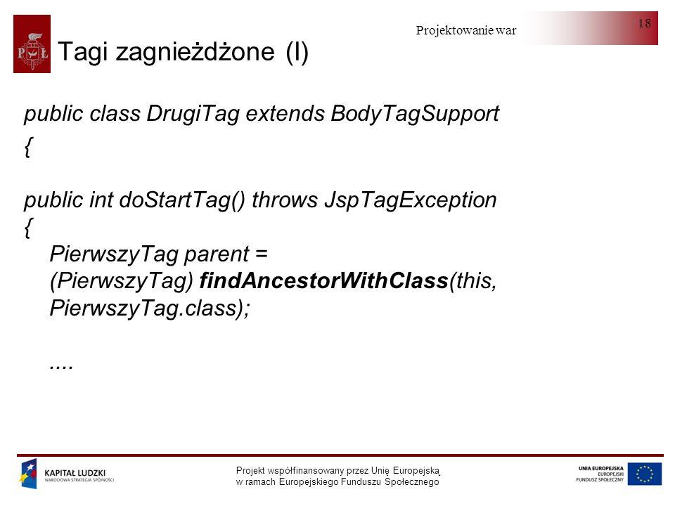 Projektowanie warstwy serwera Projekt współfinansowany przez Unię Europejską w ramach Europejskiego Funduszu Społecznego 18 Tagi zagnieżdżone (I) public class DrugiTag extends BodyTagSupport { public int doStartTag() throws JspTagException { PierwszyTag parent = (PierwszyTag) findAncestorWithClass(this, PierwszyTag.class);....