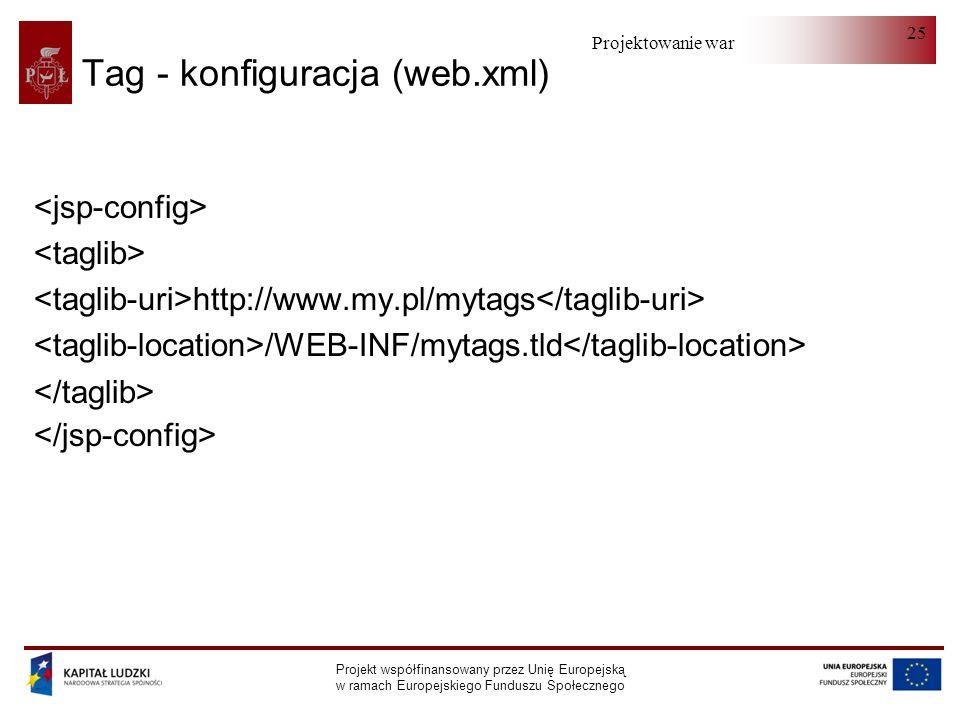 Projektowanie warstwy serwera Projekt współfinansowany przez Unię Europejską w ramach Europejskiego Funduszu Społecznego 25 Tag - konfiguracja (web.xml) http://www.my.pl/mytags /WEB-INF/mytags.tld
