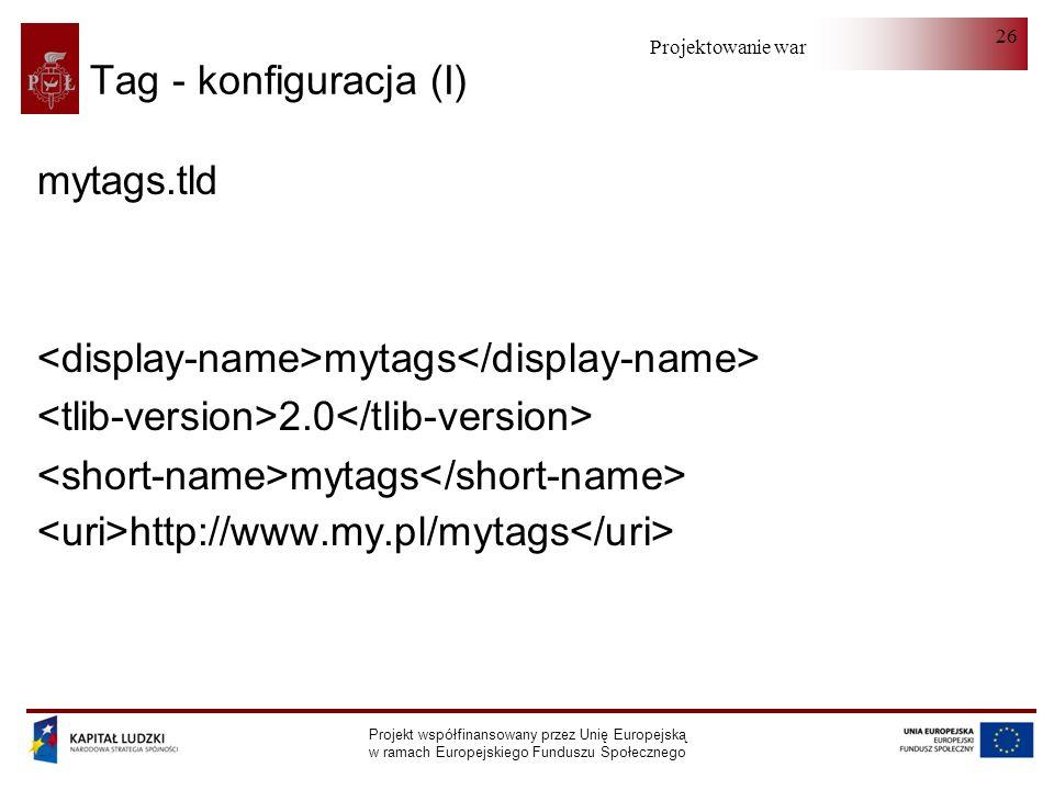 Projektowanie warstwy serwera Projekt współfinansowany przez Unię Europejską w ramach Europejskiego Funduszu Społecznego 26 Tag - konfiguracja (I) mytags.tld mytags 2.0 mytags http://www.my.pl/mytags